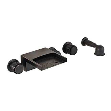 Ordinaire Oil Rubbed Bronze Wall Mounted 3 Knobs Bathtub Faucet Waterfall Mixer Tap  With Hand Shower
