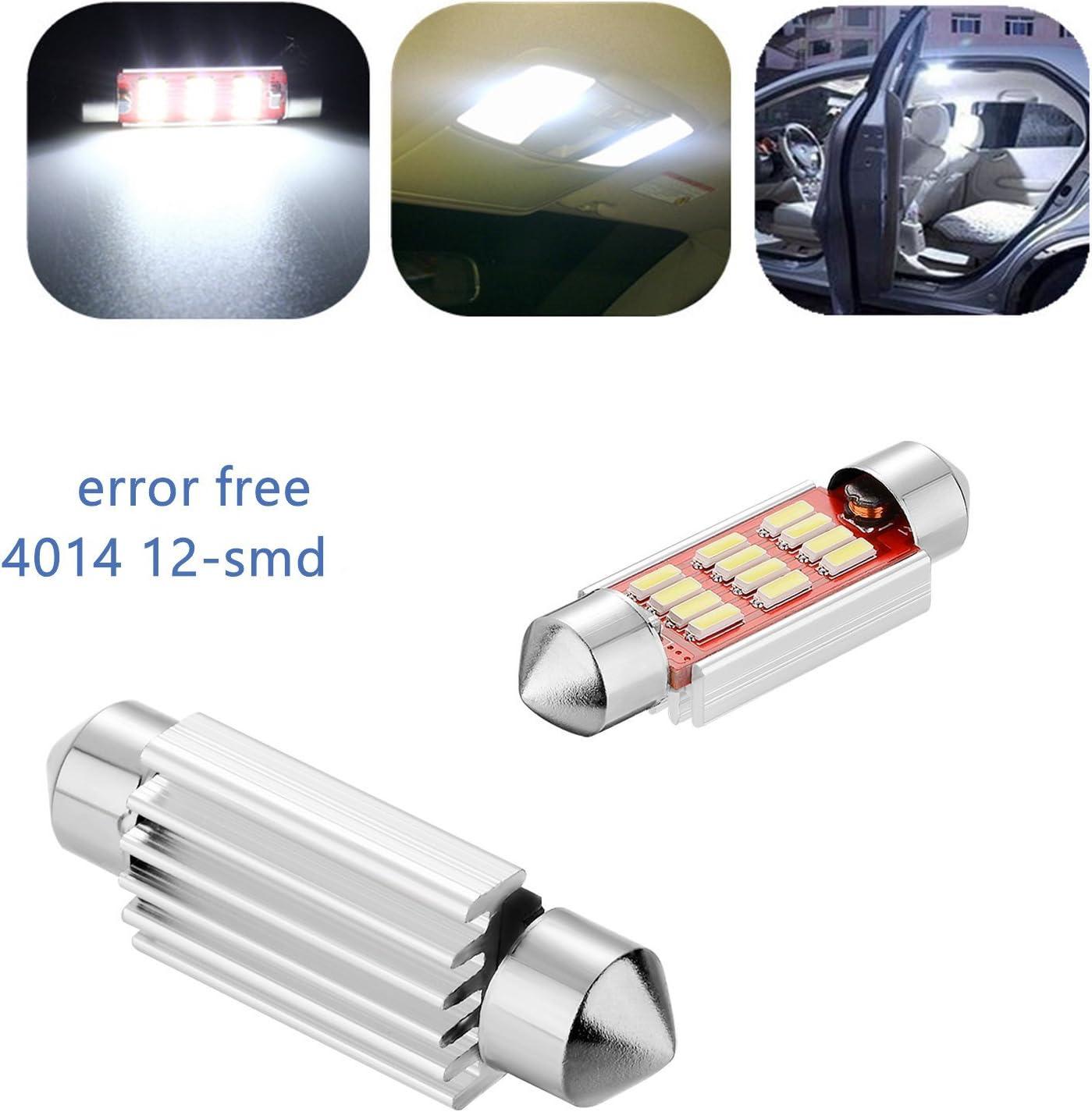 de Haichen /41/mm libre de errores fest/ón de lectura 36/ de c/úpula luz de matr/ícula blancas 4014/Canbus Pack de 4/luces para coche de LED