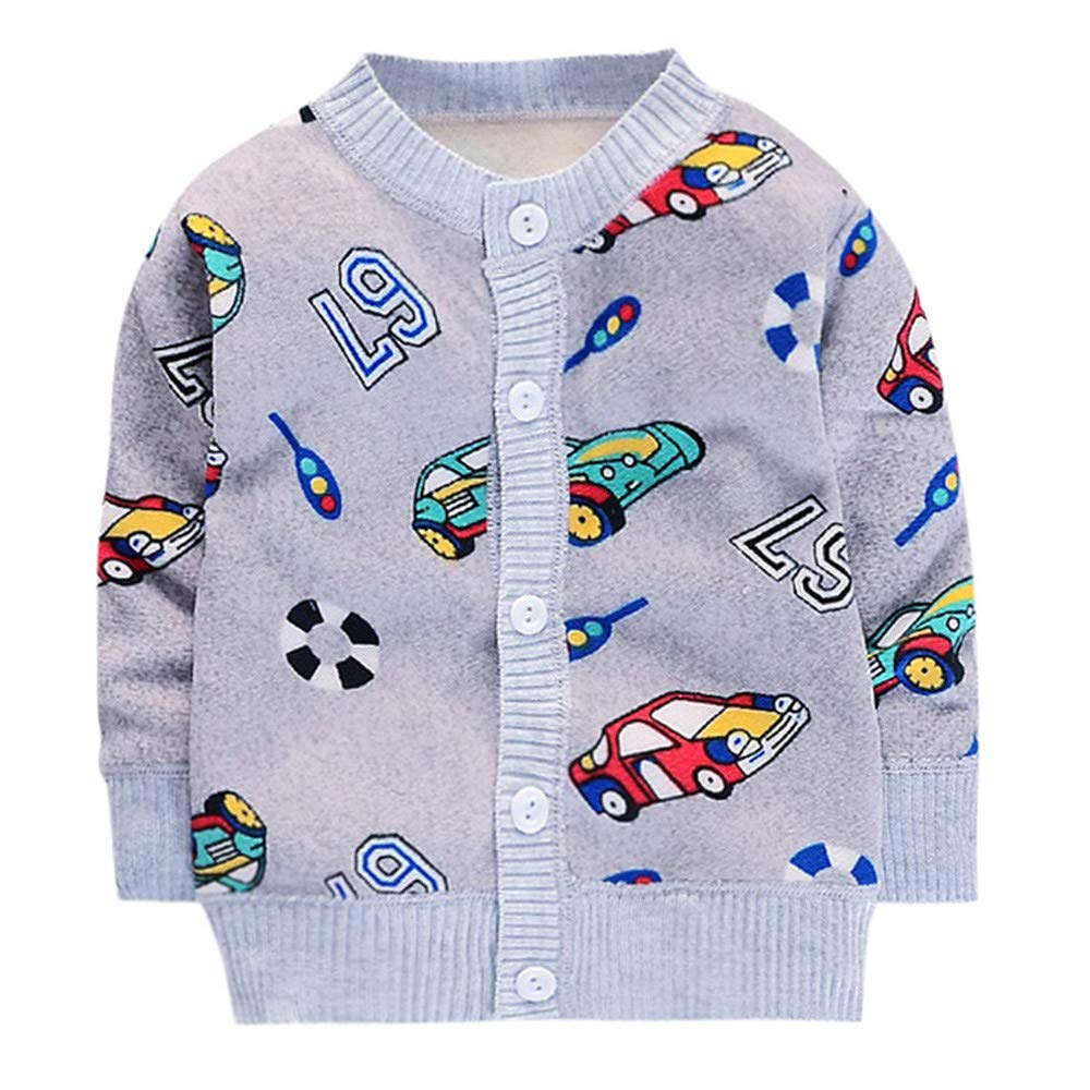 Matoen Baby Boys Girls Cartoon Print Warm Button Sweaters Coat Jacket Tops