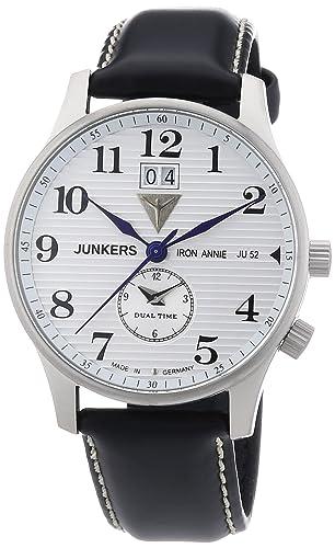 Junkers Iron Annie JU52 66401 - Reloj analógico de cuarzo para hombre, correa de cuero color negro: Amazon.es: Relojes