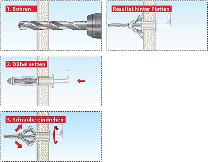 Hohlraumdübel 4x45 Metall mit Schraube //.// NEU 25 Stk