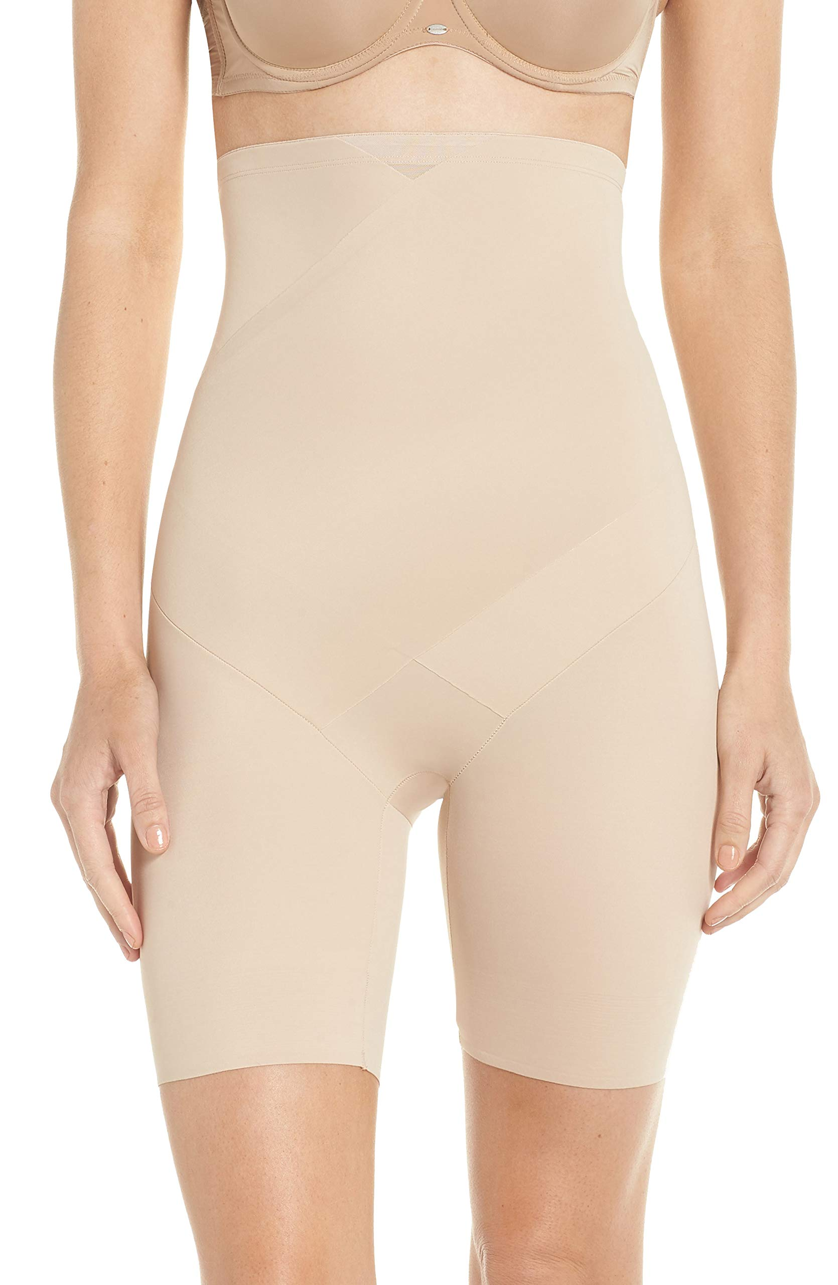 TC Fine Intimates Tummy Tux High-Waist Firm Control Thigh Slimmer, M, Nude