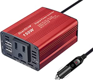 150W Car Power Inverter DC 12V to 110V AC Car Converter with 3.1A Dual USB Car Adapter-Red