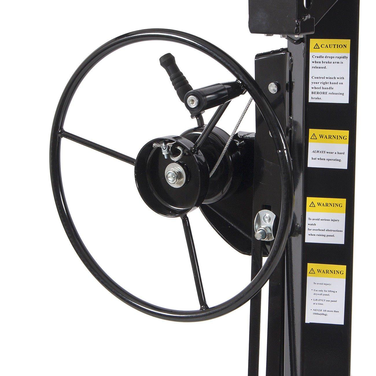 Drywall Lift 11' 15' Lift Panel Hoist Dry Wall Jack Lifter Construction -Black by Happybeamy (Image #4)