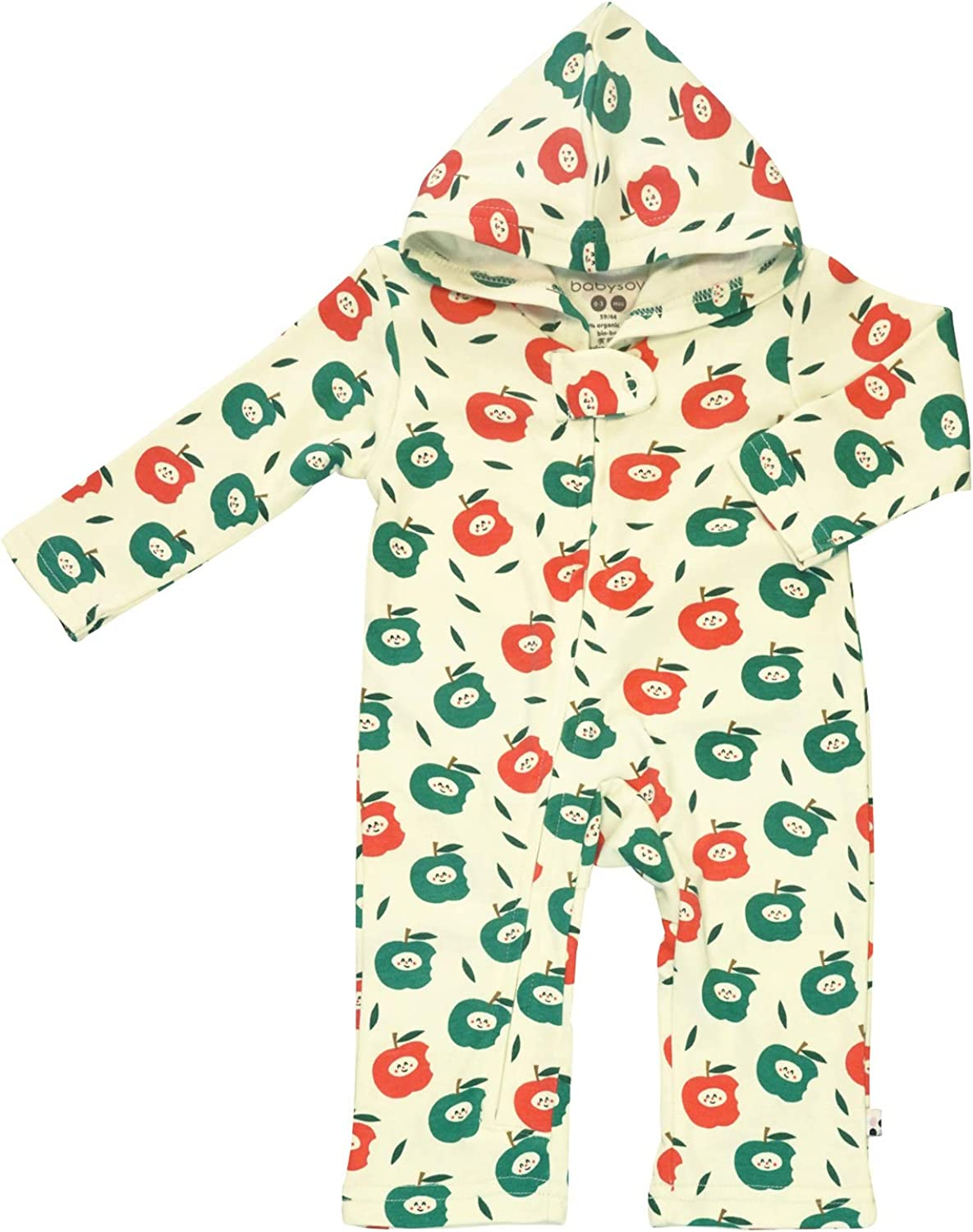 Babysoy Long Sleeve Hoodie Romper with Zipper - Fruits Pattern Organic One-Piece