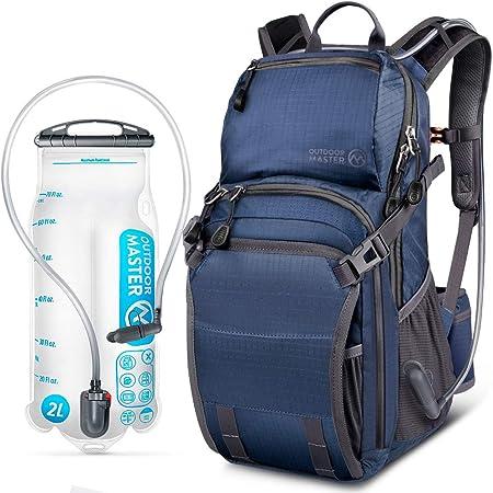 OutdoorMaster Mochila de hidratación HYDROBACK - Bolsa de 2 L sin BPA | Volumen Grande, Ultra ventilado Ligero Mochila de día para Senderismo, ...