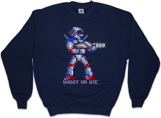 Shoot OR Die Sudadera para Hombre Sweatshirt Pullover - Turrican Game Sprite Amiga Figur Robot Spiel Tamaños S - 3XL: Amazon.es: Ropa y accesorios