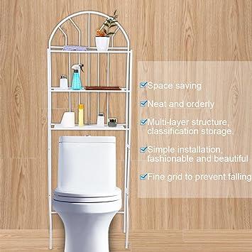 Estink Scaffale Bagno e WC Salvaspazio da Lavatrice a 3 Livelli Organizzatore di Bagno Scaffale Aperto per Bagno o Lavanderia in Ferro 60,5 x 30,5 x 171 cm
