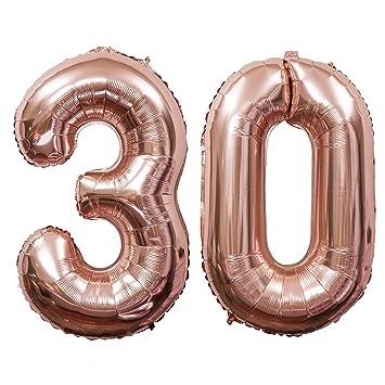 Meowoo Globo de Cumpleaños 30 Globo de Papel de Aluminio Globo Grande 100cm 40 Pulgada Fiesta de cumpleaños Suministros Decoración (Oro Rosa Num 30)