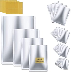 Mylar Bags - Mylar Aluminum Foil Bags 26 Pcs, 4 Size bags With Label Papers, Open Top Flat Heat Sealing Metallic Mylar food storage bag for Food Coffee Tea Beans (4.6x7, 6.3x9.5, 8.7x11, 10x15 Inch)