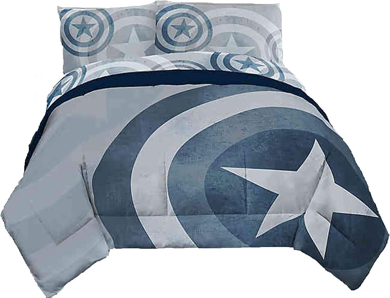 Captain America Marvel Duvet Cover Set 3 pc - Duvet Cover with 2 Pillowcases