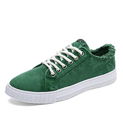 Lace Up Canvas Shoes Men Alpargatas Canvas Trainers Men Denim Shoes Casual Blue Flats Green Shoes