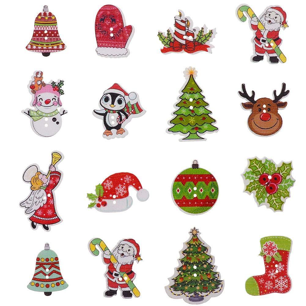 Teabelle DIY 2fori bottoni in legno legno Christmas Cartoon cucito scrapbooking 50PCS