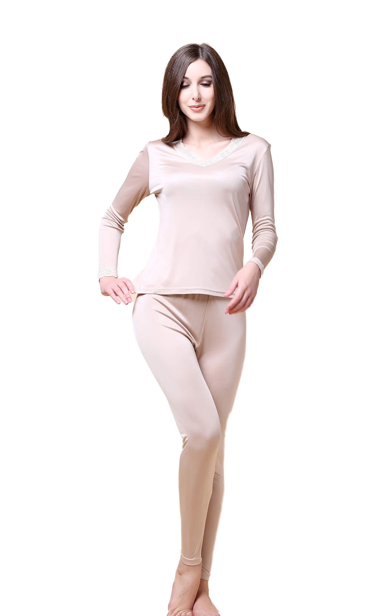 Women's Mulberry Silk Long Sleeve T-Shirt Pants Two Piece Beige XL