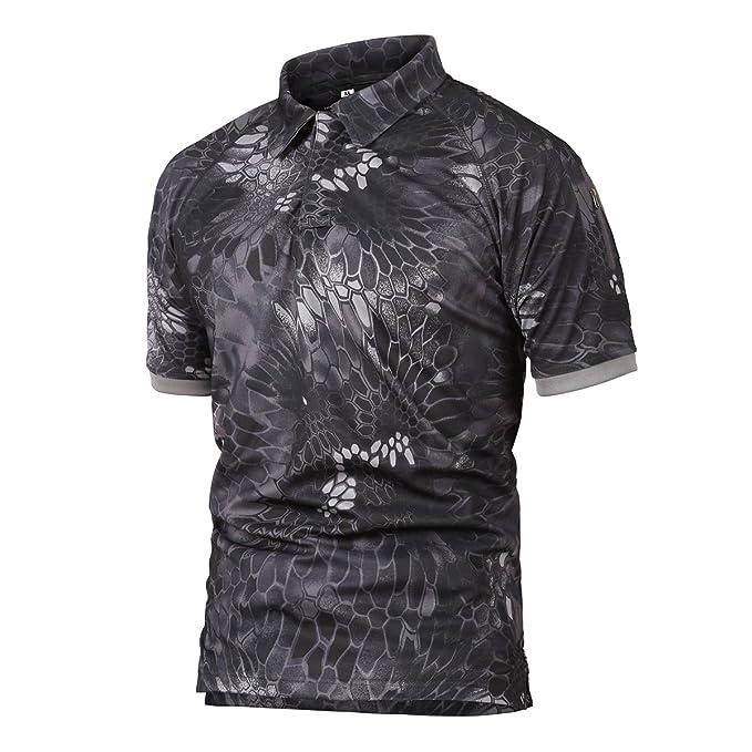 Caza de Combate táctico Militar Caza Manga Corta Held Airsoft Camuflaje Camiseta Uniformes tácticos Ropa Deporte al Aire Libre para Multicam Pitón Negro ...