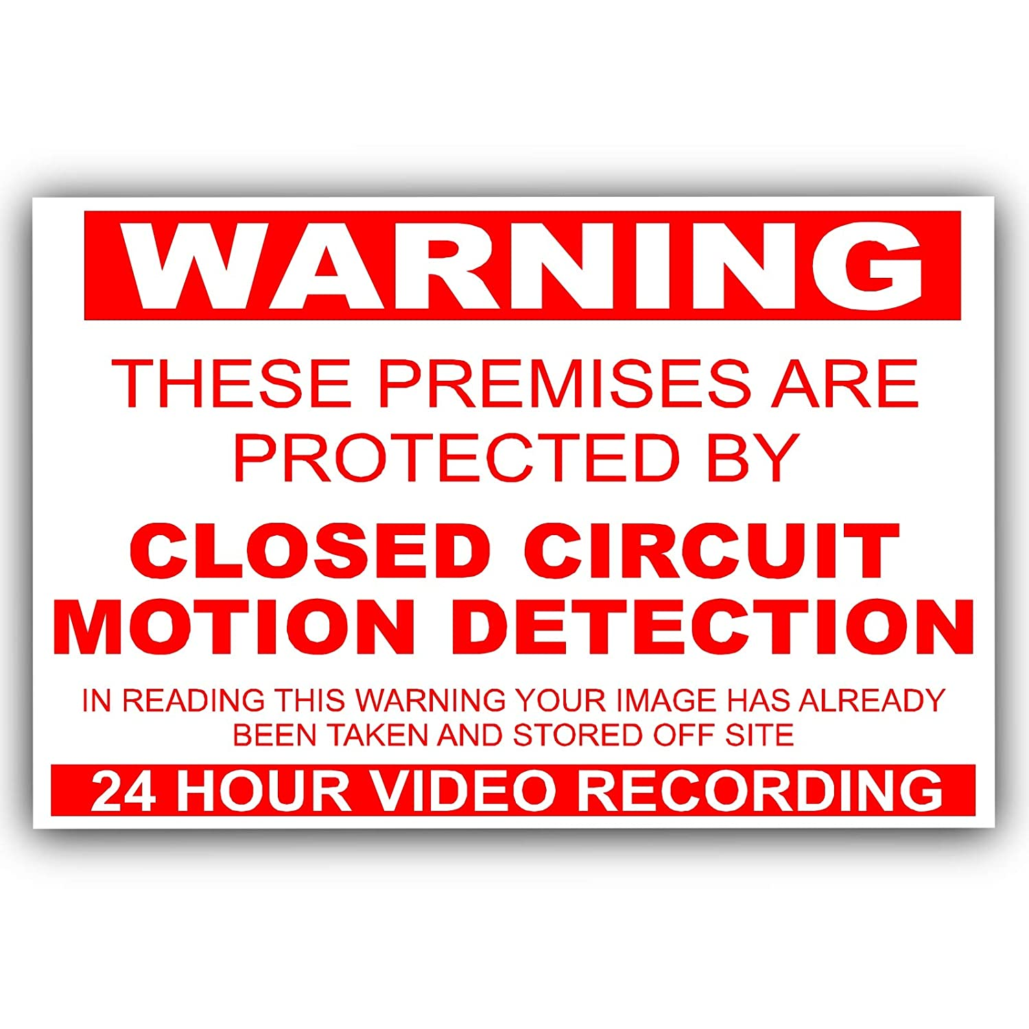 Platinum Place 6 x EXTERNAL-Premises Protected by MOTION DETECTION Closed Circuit CCTV Stickers-Red on White-130mm x 87mm-Worded-Video Recording Camera Security Warning Signs-Self Adhesive Vinyl