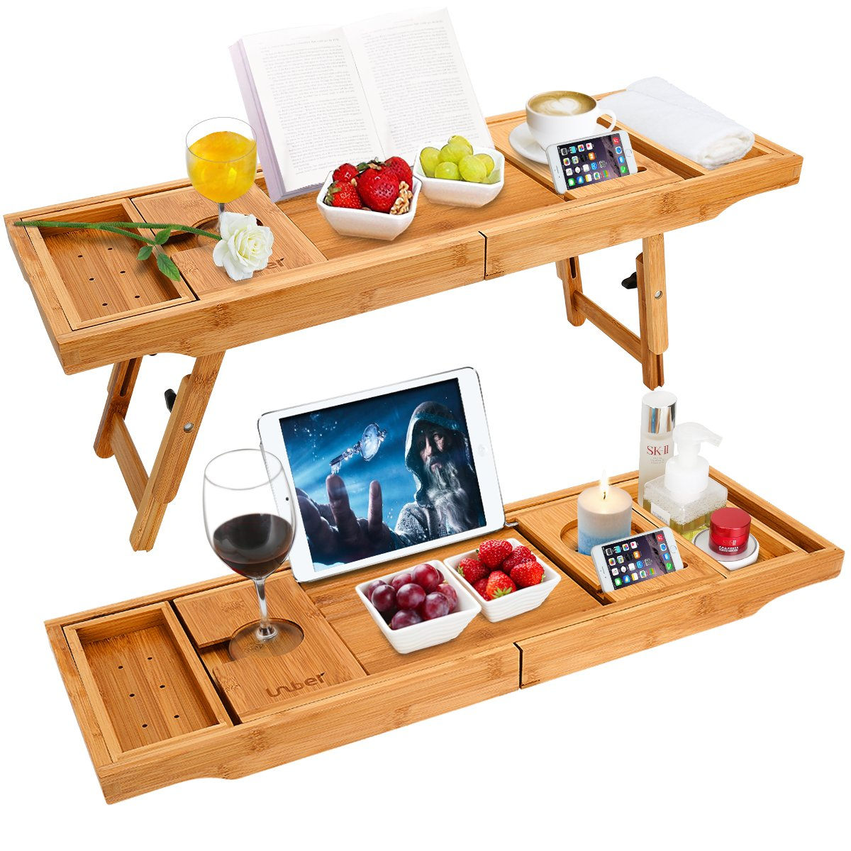 Wooden-Life Bathtub Caddy Tray& Laptop Desk with Foldable Legs, 2 in 1 Wisdom Design - Luxurious Bathtub Caddy with Extending Sides, Tablet Holder, Reading Rack,Cellphone Tray and Wine Glass Holder by Wooden-Life (Image #1)
