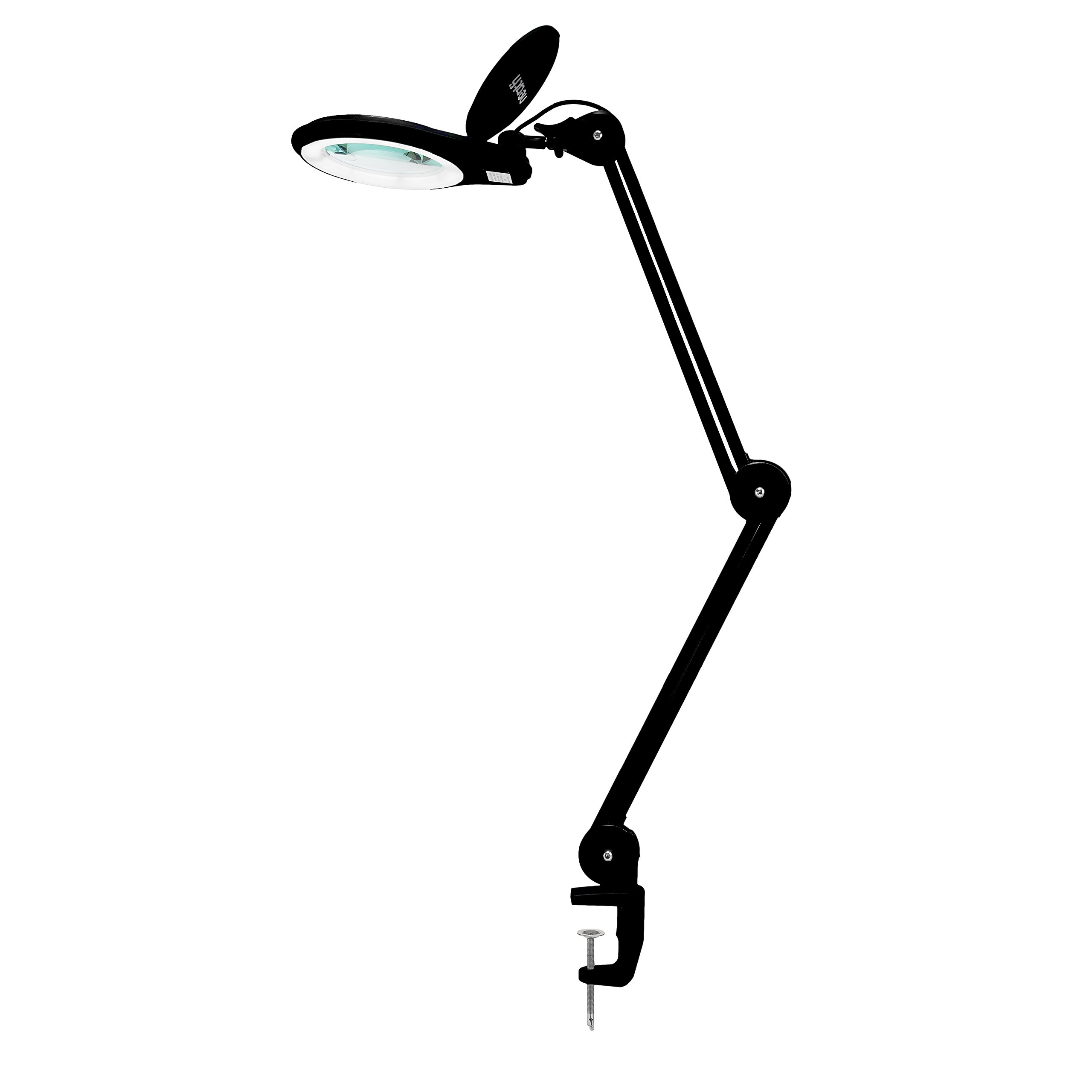 Neatfi 1,200 Lumens Super LED Magnifying Lamp with Clamp   Dimmable   Microfiber Cleaning Cloth Included   60PCS SMD LED   5 Diopter   5'' Diameter Lens   Adjustable Swivel Arm Utility Clamp Light