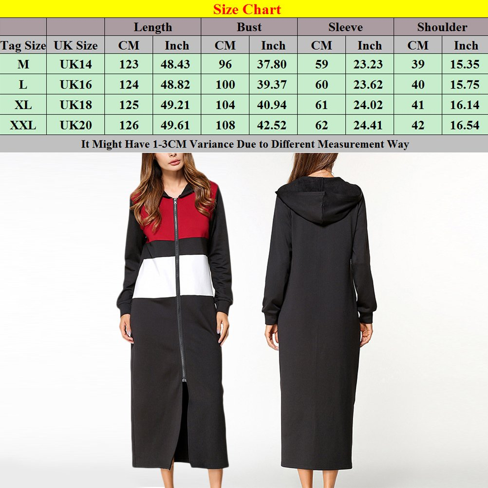 Zhuhaitf Womens Ladies Popular Design Zip Hooded Long Sweater Shirt Casual Dresses