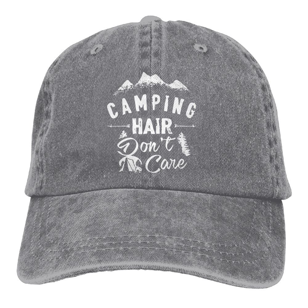 Amazon.com  Unisex Camping Hair Don t Care Vintage Jeans Adjustable Baseball  Cap Cotton Denim Dad Hat  Clothing 192606f8061