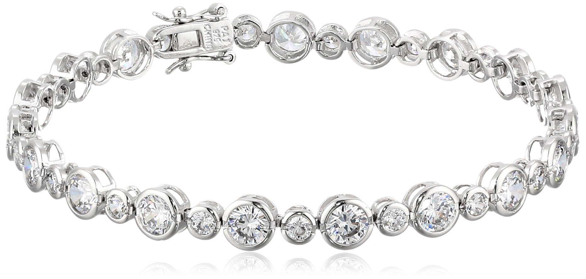 Sterling Silver Cubic Zirconia Alternating Tennis Bracelet, 8.25'' by Amazon Collection