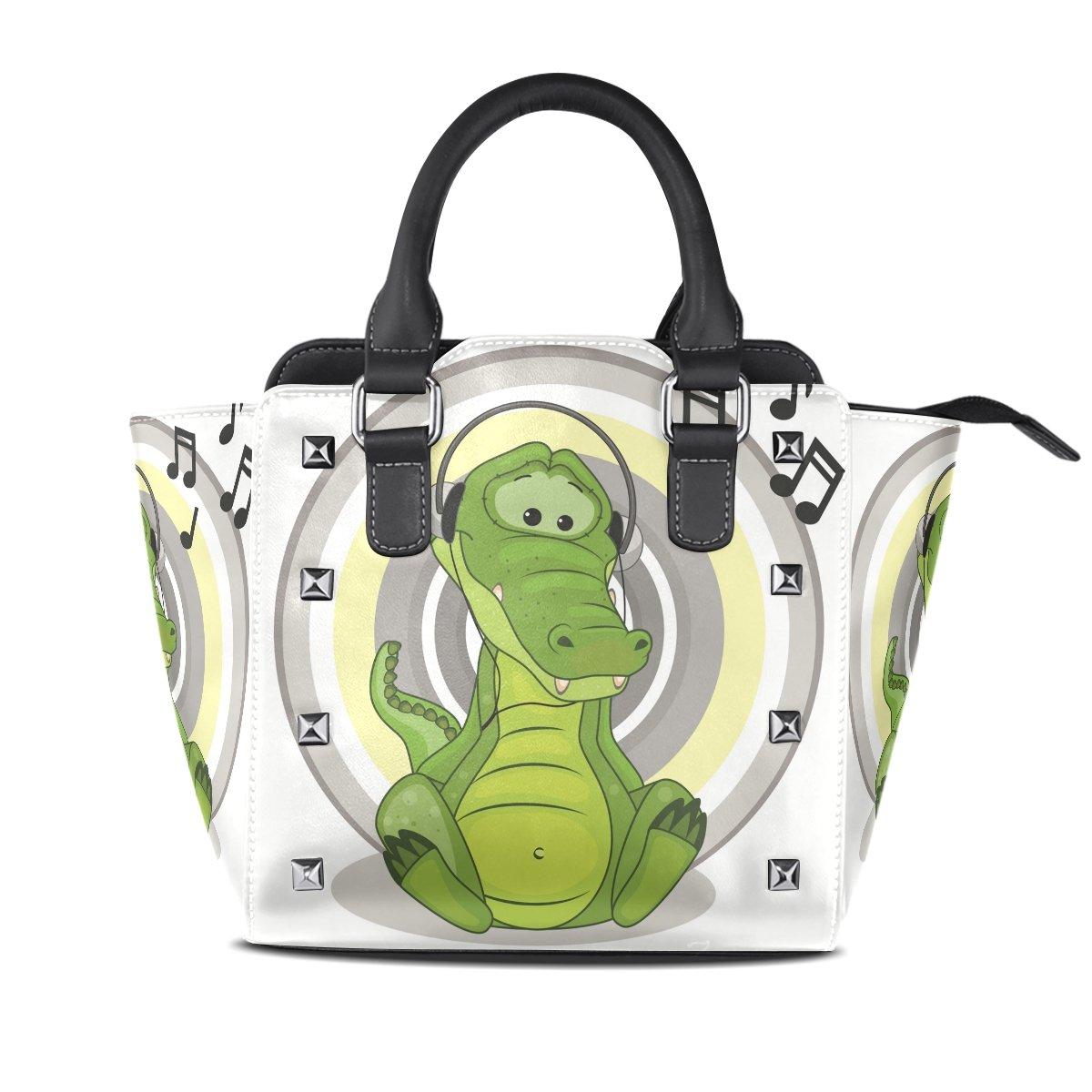 Ladies Genuine Leather Tote Bags Funy Crocodile Womens Hangbags Shoulder Bags