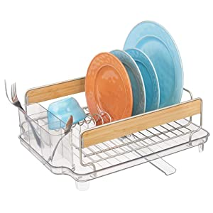 mDesign Large Kitchen Countertop, Sink Dish Drying Rack with Bamboo Wood Accents - Removable Cutlery Tray & Drainboard with Adjustable Swivel Spout - 3 Pieces, BPA Free Cutlery Caddy, Satin/Clear