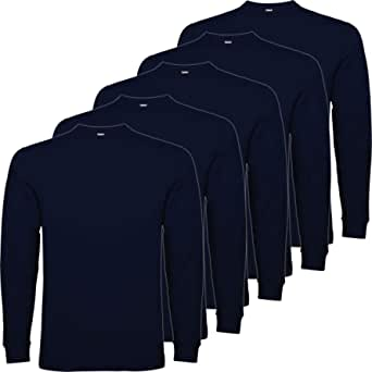 Pack 5 | Camiseta Manga Larga Hombre | 100% Algodón Punto Liso | Cuello Redondo