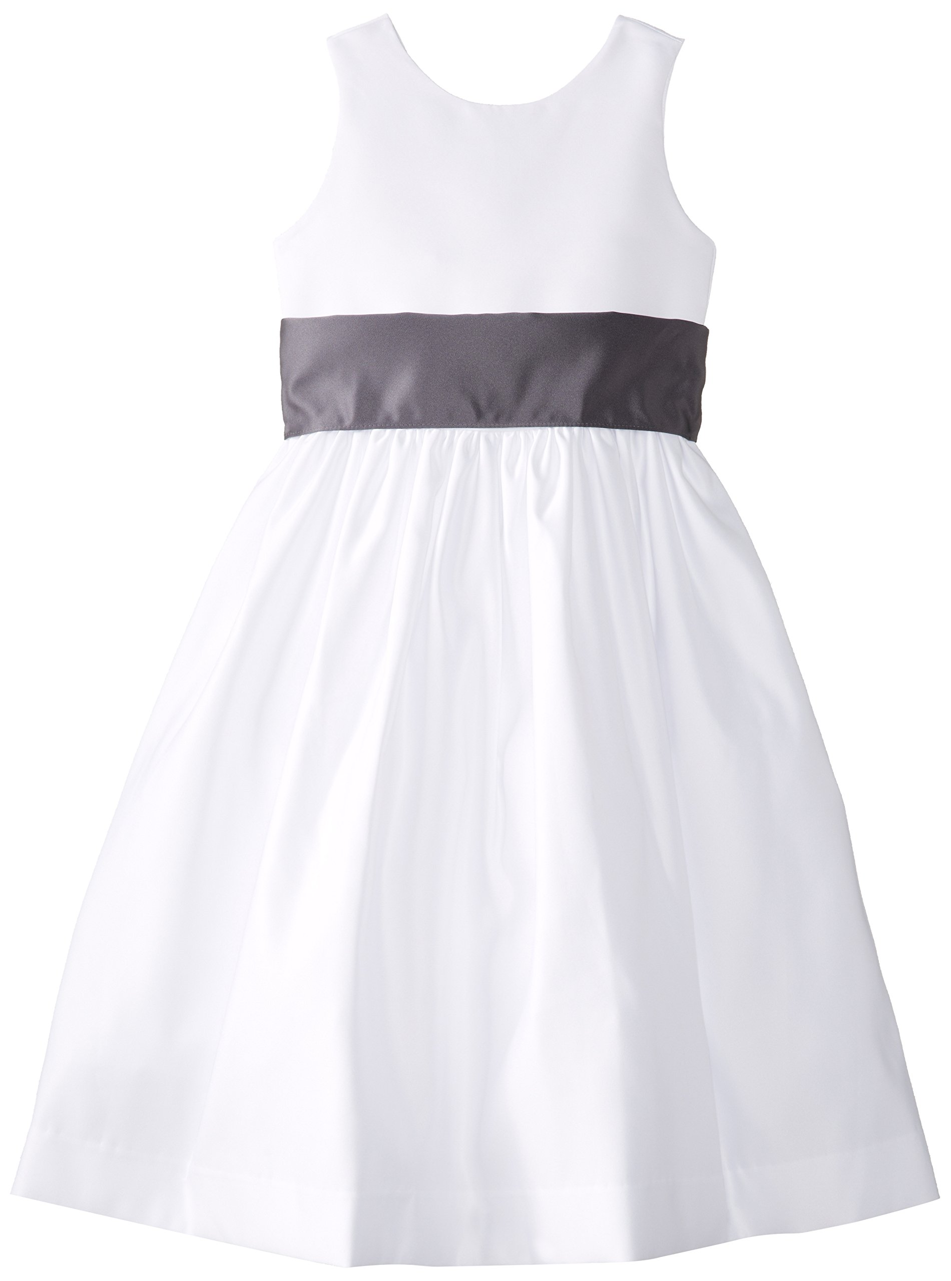 Us Angels Little Girls' Toddler White Dress with Sash, White/Pewter, 3T