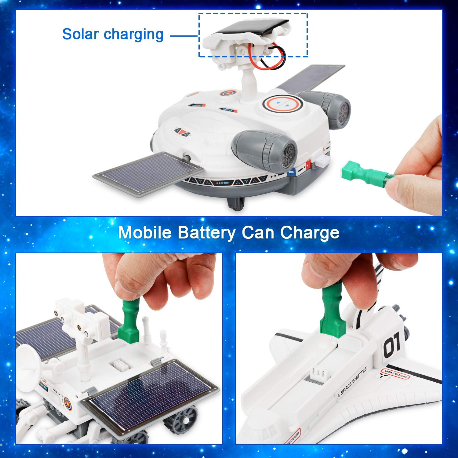 Sillbird STEM 4-in-1 Solar Science Robot kit for Kids Educational Space Moon Exploration Fleet Building Experiment Toys kit for Boys and Girls Age of 8 Years