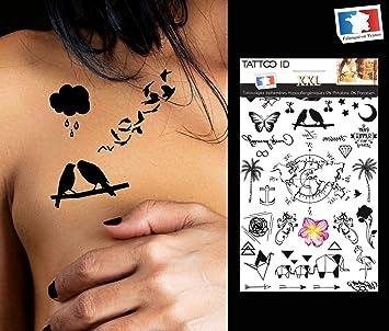 Tattoo ID XXL Femix mapamundi palmera mariposa estrella Phrase ...