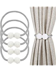 """Magnetic Curtain Tiebacks,4 Pieces 19"""" Curtain Rope and Magnetic Tieball,Decorative Curtain Tiebacks for Home, Office, Hotel Window Decoration,Pretty and Fashion"""