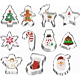 11 Pcs Christmas Cookie Cutters, Hibery Holiday Cookie Cutters Christmas, Snowflake, Christmas Star Tree, Gingerbread…