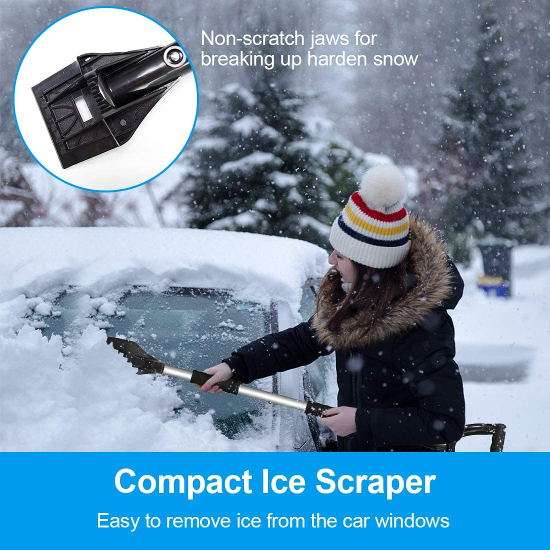 Portable Detachable Emergency Snow Removal Set for Car Ice Scraper with Extendable Handle Backyard 3-in-1 Snow Shovel Kit Snow Shovel Trucks Camping Outdoor Activities Snow Rotary Brush