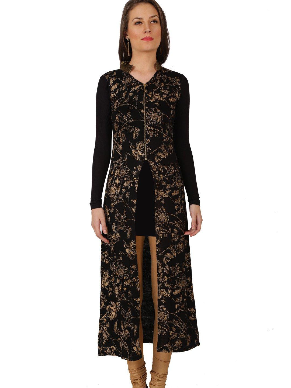 Ira Soleil Black Knitted viscose strech block printed zipper Jacket,Black,L