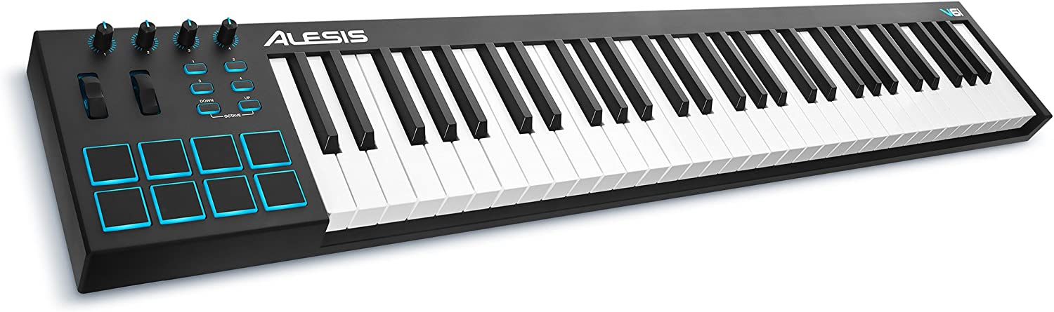Alesis V61 | 61 Key USB MIDI Keyboard Controller with 8 Backlit Pads, 4 Assignable Knobs and Buttons