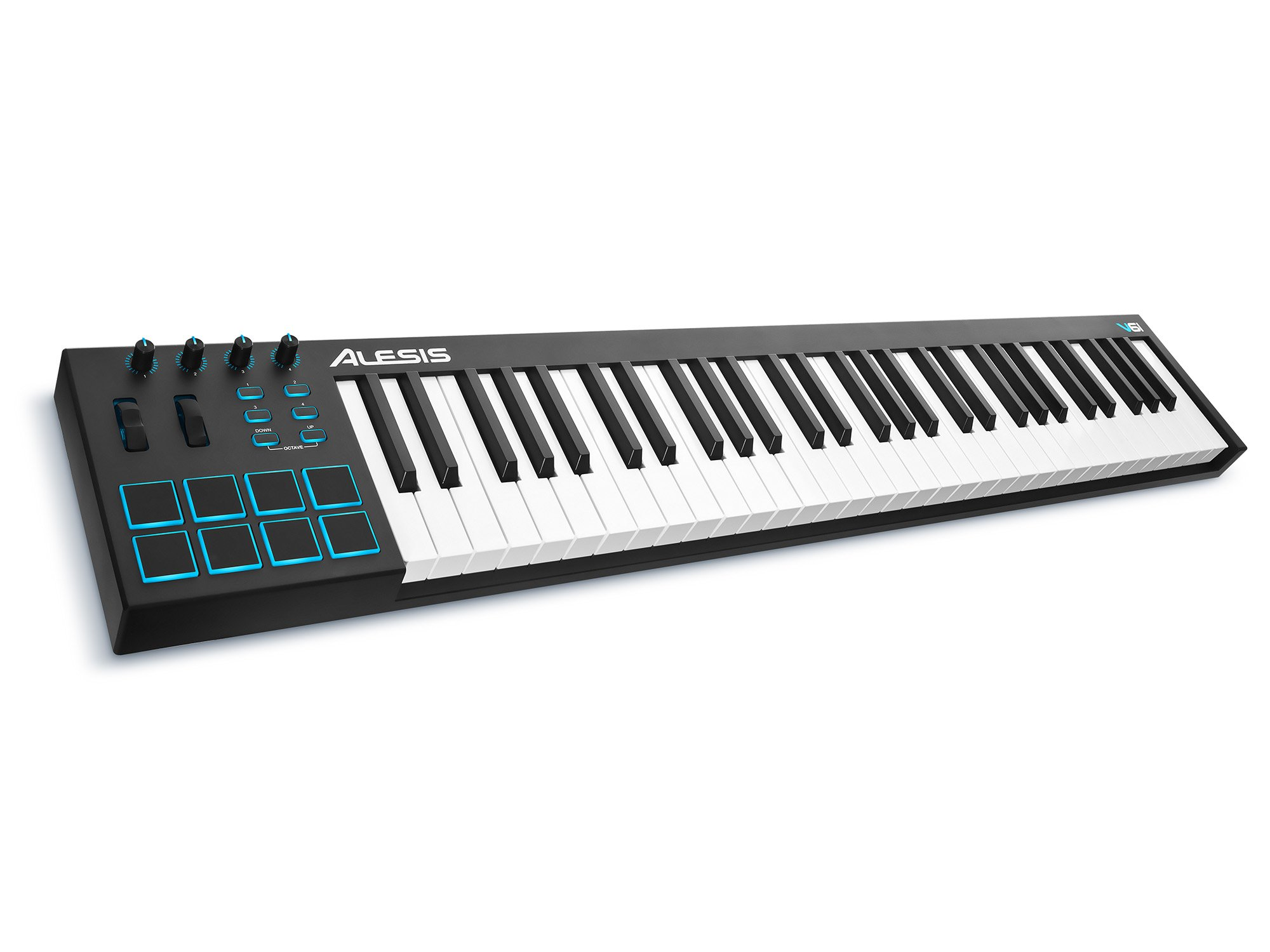 Alesis V61 | 61 Key USB MIDI Keyboard Controller with 8 Backlit Pads, 4 Assignable Knobs and Buttons, Plus a Professional Software Suite with ProTools | First Included by Alesis