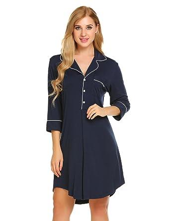7303c22b6d Acecor Nightgown Sleepshirts Women s 3 4 Sleeve Sleepwear Nightshirts Sleep  Dress S-XXL