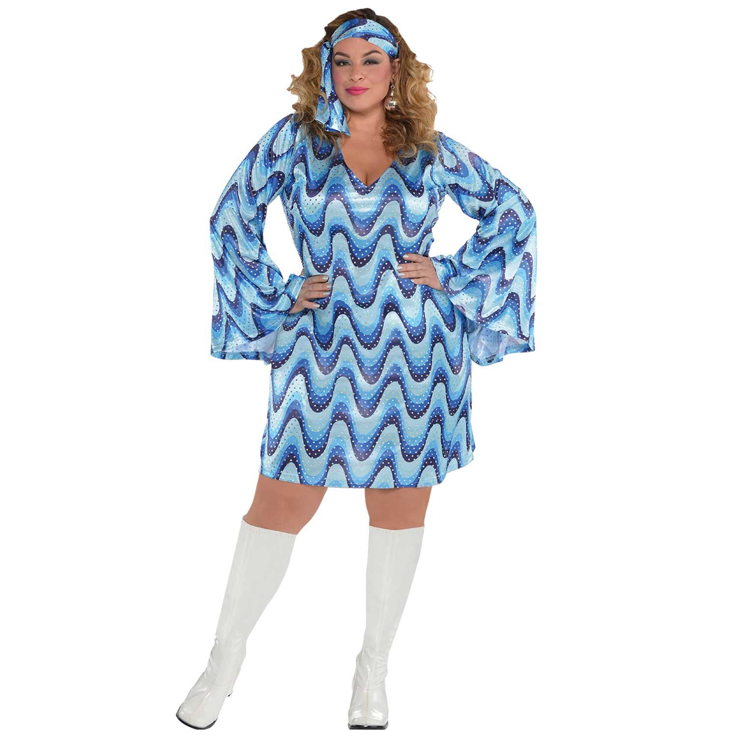 Plus Size Disco Lady Costume - Dress and Headscarf - Sizes 8 to 20