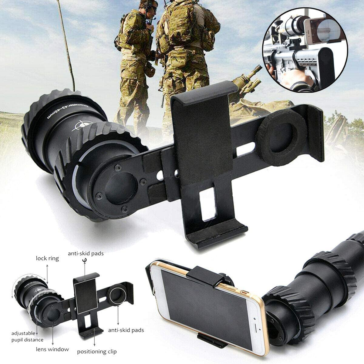 Universal Cell Phone Adapter Mount Camera Mount Telescope Phone Holder for Tactical Rifle Spotting Scope