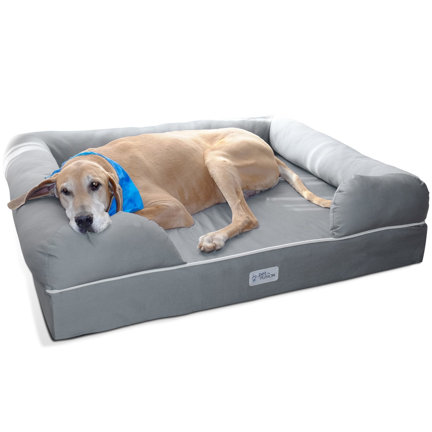 PetFusion Ultimate Dog Bed & Lounge. (Jumbo XX Large Gray, 50 x 40 x 13''). Premium Edition w/ Solid 6'' Memory Foam. [Replacement covers also available]