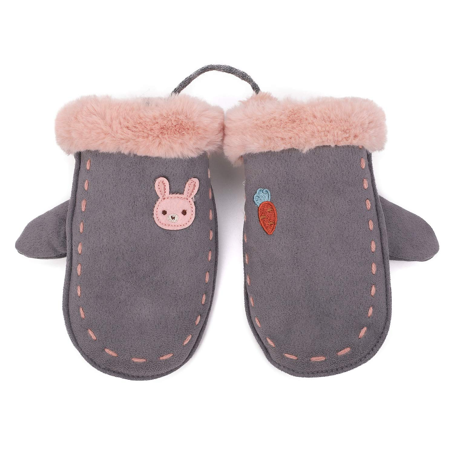 Flammi Kids Winter Plush-lined Suede Mittens with String F Flammi