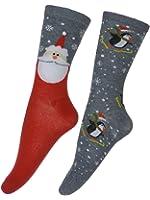 Women's Santa Clause and Penguins Novelty 2-Pack Crew Socks