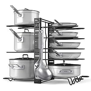 Pot Rack Organizer-Adjustable 8+ Pots and Pans Oragnizer, Kitchen Counter and Cabinet Pot Lid Holder with 3 DIY Methods (6 Hooks Included)