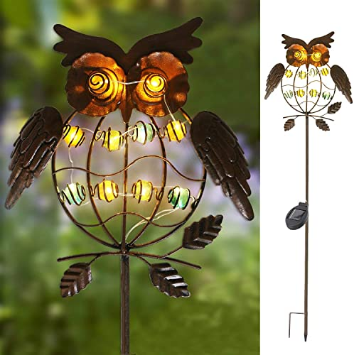 TAKE ME Garden Solar Lights Outdoor,Solar Powered Stake Lights – Metal OWL LED Decorative Garden Lights for Walkway,Pathway,Yard,Lawn Bronze