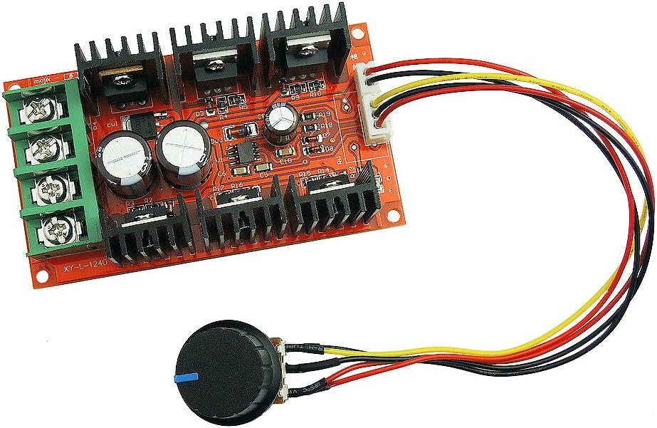 uniquegoods 12V 24V 36V 48V 40A 2000W PWM Controlador de Velocidad del Motor de CC ajustable Interruptor de velocidad variable HHO controlador con arnés de cable