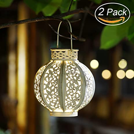 Maggift 2 Pack Hanging Solar Lights Outdoor Christmas Solar Lights Retro Hanging  Solar Lantern With Handle