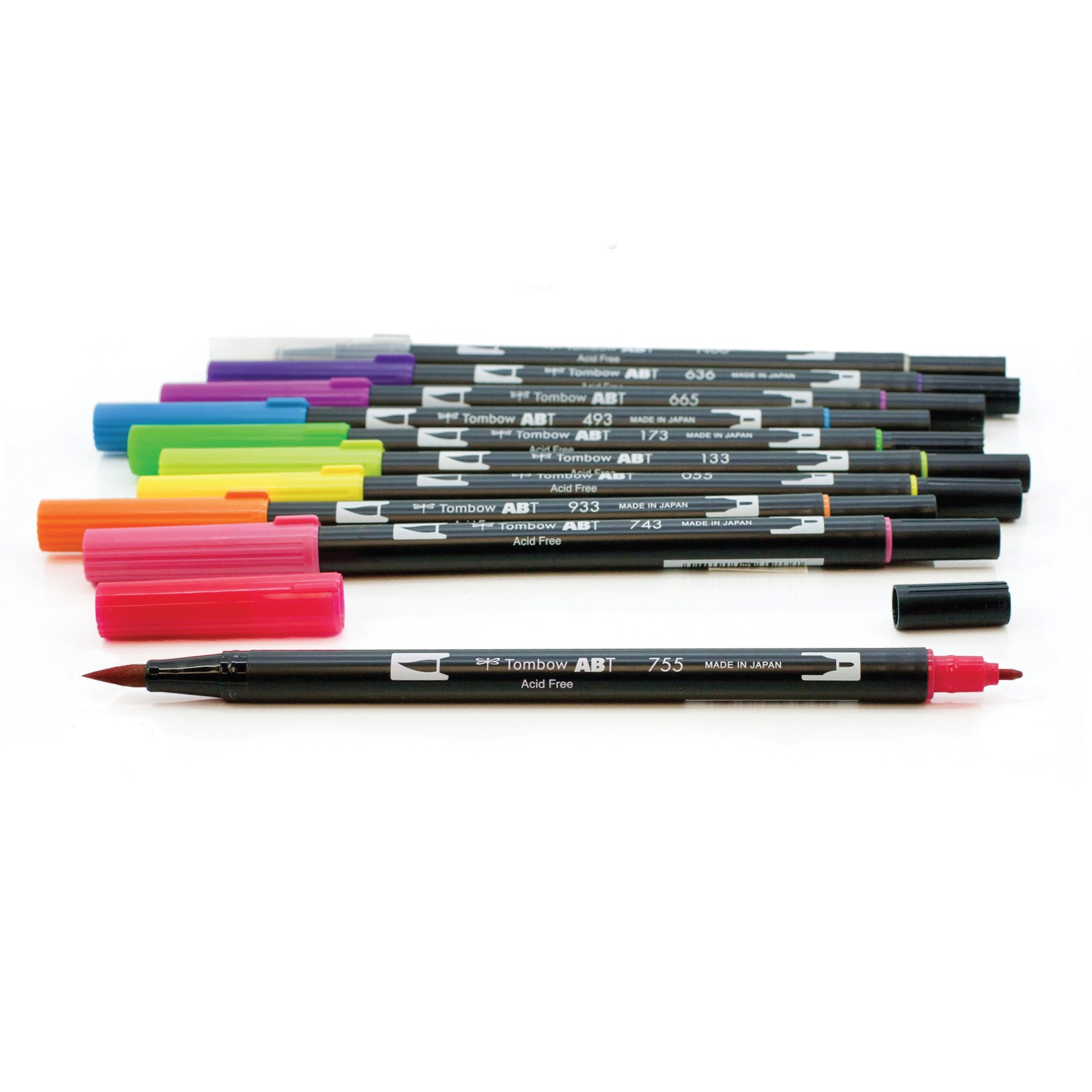 Tombow 56185 Dual Brush Pen Art Markers, Bright, 10-Pack. Blendable, Brush and Fine Tip Markers by Tombow (Image #1)