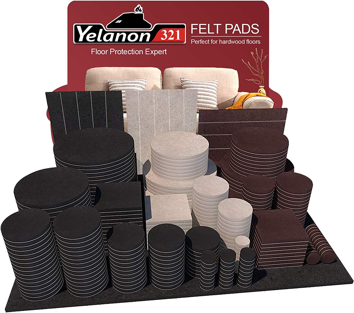 Yelanon Furniture Pads 321 Pieces - Self Adhesive Felt Pad Brown Felt Furniture Pads Anti Scratch Floor Protectors for Chair Legs Feet for Protect Hardwood Tile Wood Floor & Laminate Flooring