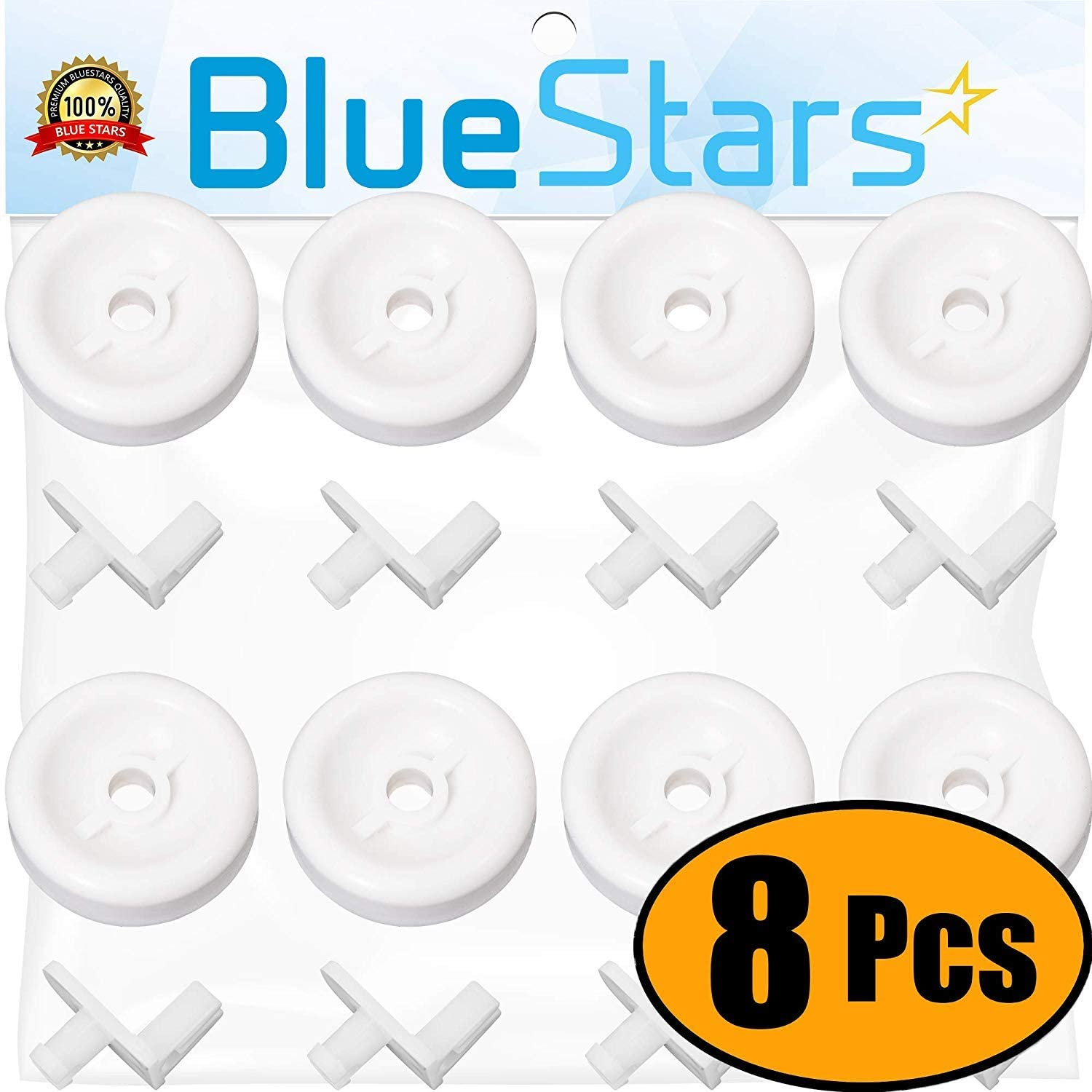 Ultra Durable WD35X21038 Dishwasher Lower Rack Roller Wheel and Stud Kit by Blue Stars - Exact Fit for GE Hotpoint Kenmore Dishwashers - Replaces WD12X10267 PS11726733 AP5986365 - PACK OF 8
